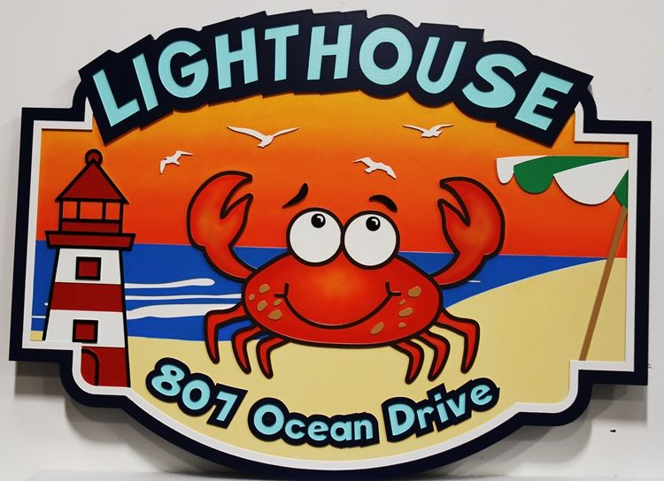 """L21438 -  Carved 2.5D ReliefHDU Sign """"Lighthouse"""", with a Cartoon Crab and Lighthouse as Artwork,"""