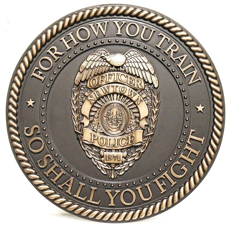 PP-1531 - Carved 3-D Bronze-Plated HDU Plaque of the Badge of a Police Officer of the City of Newtown, Connecticut