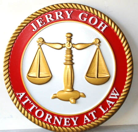 A10205 - Carved Round Wall Plaque for Attorney Office, with 3-D Gold  Scales of Justice
