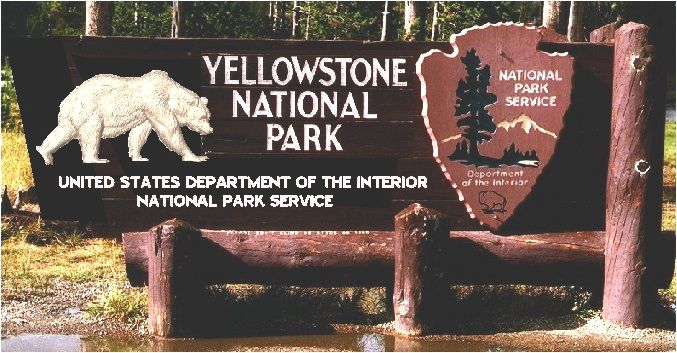 M2057 - Carved Grizzly Bear on Yellowstone Park Sign (Gallery 16)