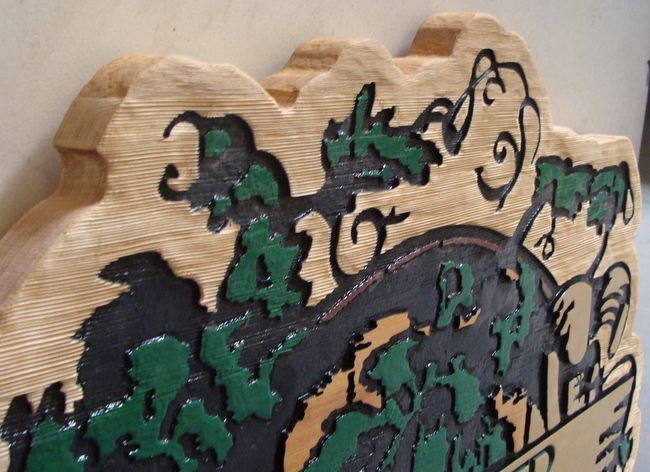 R27053 - Details of Warner Vineyard Carved cedar Sign