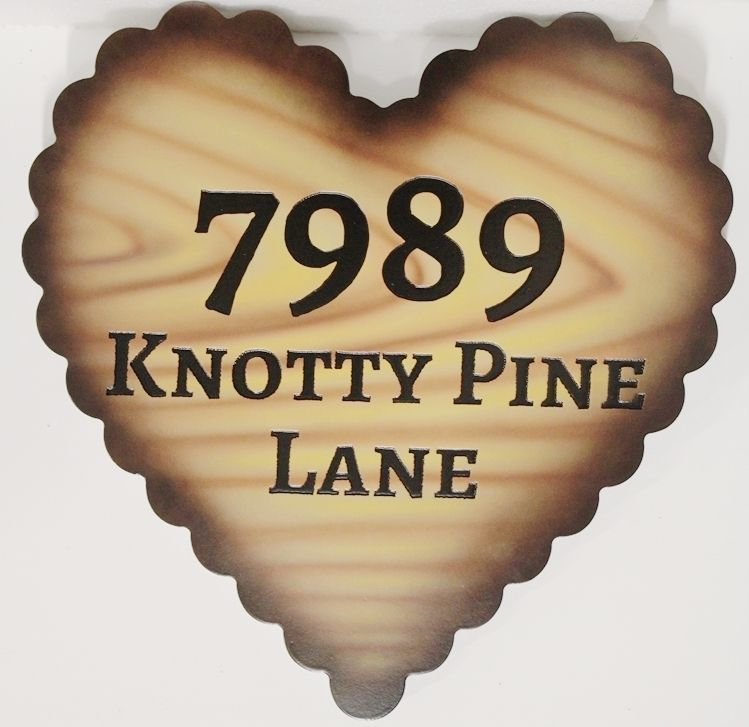 "M22024 - Engraved HDU Address sign ""7989 Knotty Pine Lane"", Carved in the Shape of a Heart"