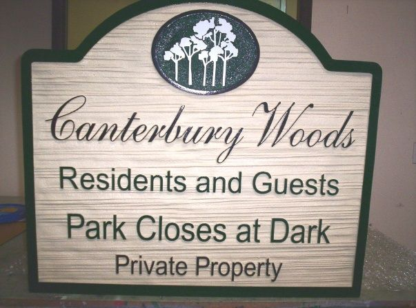 GA16514 - Wood Look, Carved HDU Sign for Private Property Park for Residents and Guests