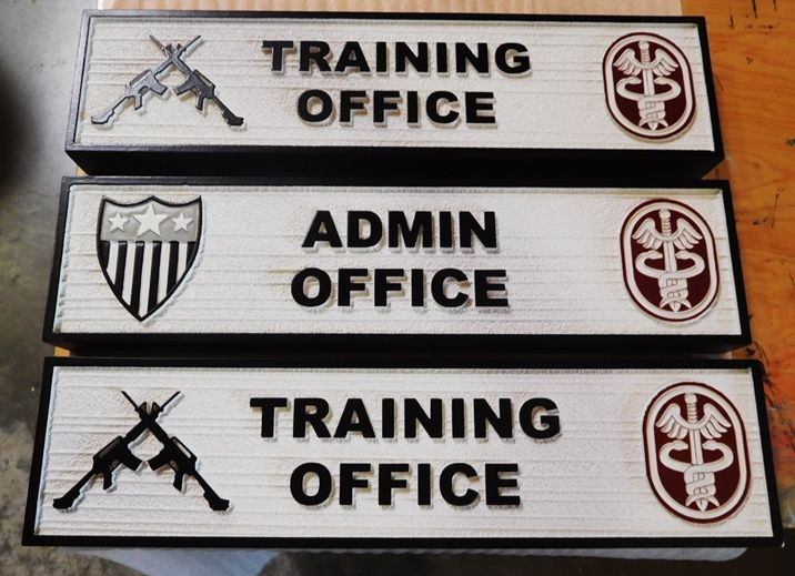 MP-3070 - Carved Plaques Unit Position and Rank Plaques for US Army Medical Unit, 2.5D Sandblasted Cedar