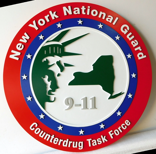 W32377 -  2.5-D Carved HDU Wall Plaque for the New York National Guard Counterdrug Task Force