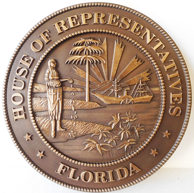 BP-1143 - Carved Plaque of the Great Seal of the State of Florida (Old Style), Bronze-Plated