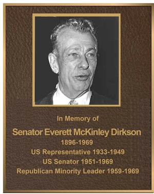 ZP-2035- Carved Memorial Photo Plaque  for Senator Everitt Dirkson, ,  Painted  Light and Dark Bronze