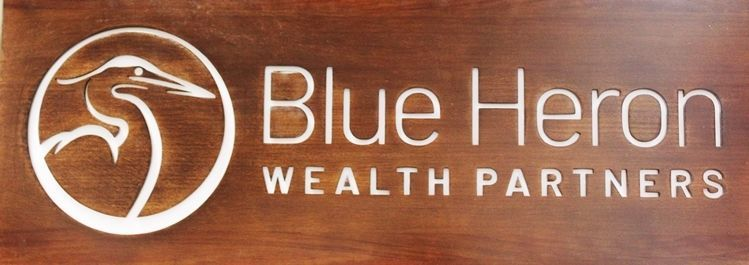 "C12033 - Carved and Engraved African Mahogany Sign  for  ""Blue Heron - Wealth Partners"""
