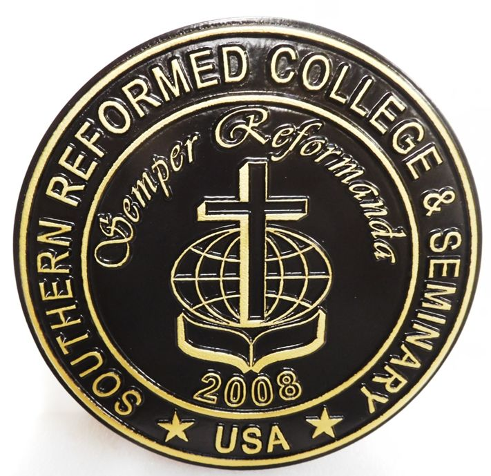 RP-1550 - Carved Plaque of the Seal of the Southern Reformed College  & Seminary, 2.5-D Artist-Painted