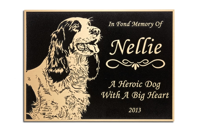 MH8060 - Cast Bronze Plaque with Etched Head of Dog, Engraved