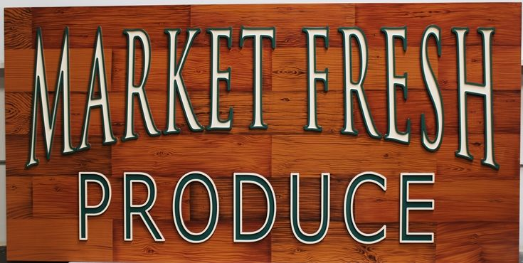 Q25618 - Carved HDU Sign for Market Fresh Produce,  with Painted Faux Wood Grain as Artwork