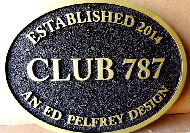 M7430 - Gold-Painted Carved Entrance Sign for Club 787.
