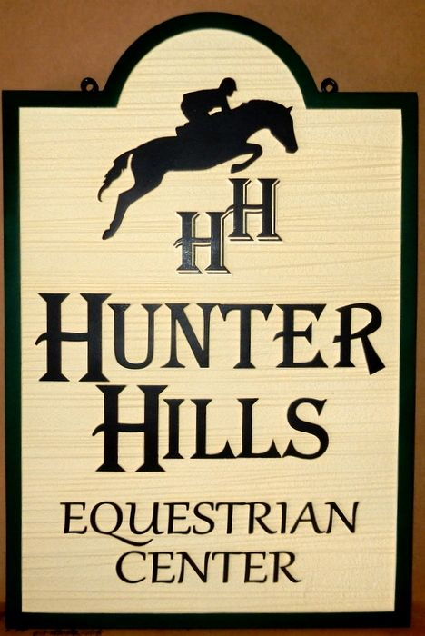 P25014 - Carved HDU Sign for Hunter Hills Equestrian Center, with Hunter-Jumper in Silhouette