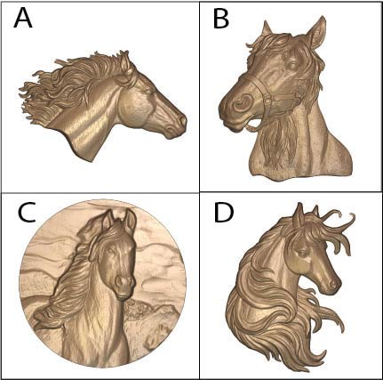 P25915 -Carved 3D Bas-Relief Wood Appliques -Equine Heads
