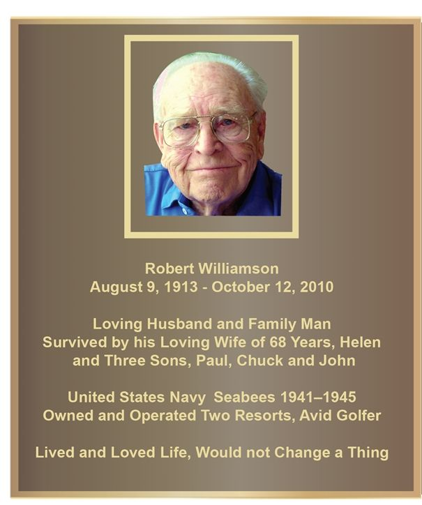 MB2387- Brass-Plated Memorial Plaque with Giclee Photo of Robert Williamson, Sandsblasted Painted Bronze Background, 2.5-D