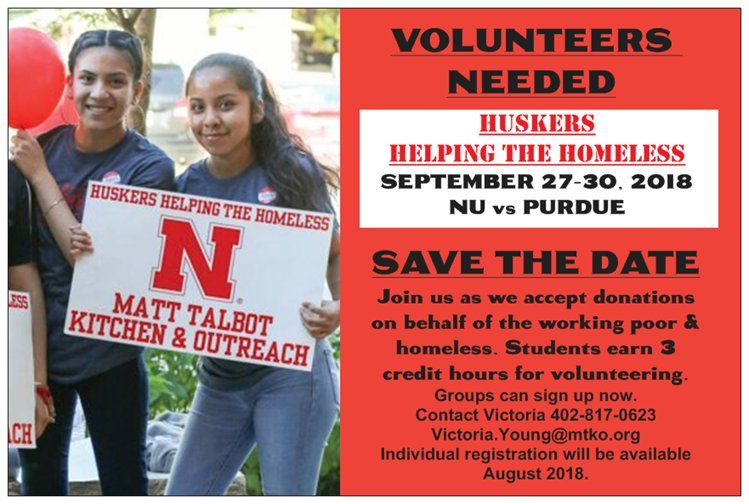 Save the Date for Huskers Helping the Homeless: September 27-30, 2018