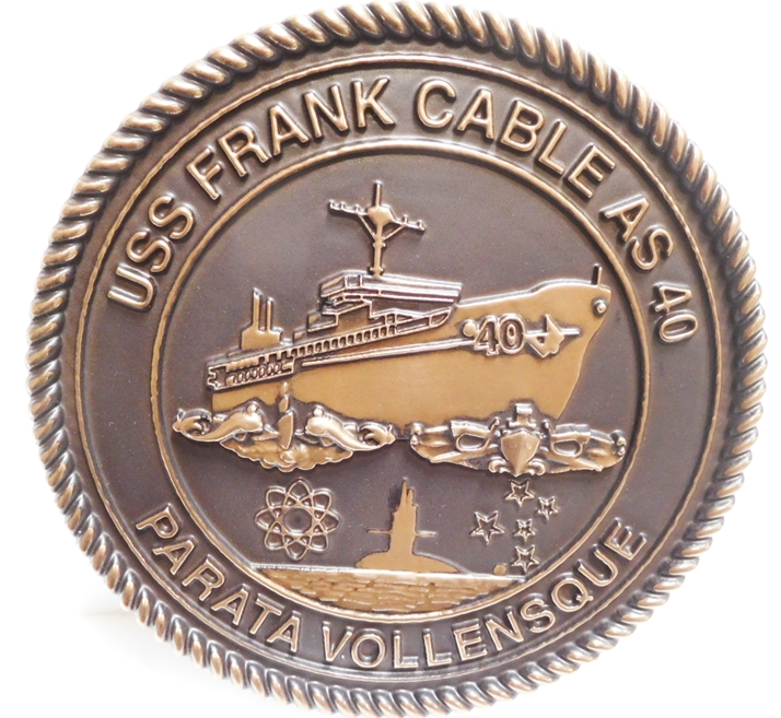 JP-1250 - Carved Plaque of the Seal of the USS Frank Cable, AS-40, 3-D Bronze-plated
