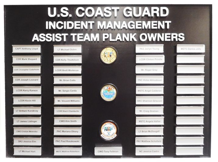 SB1050 - Recognition  Plaque for the US Coast Guard Incident Management Assist Team Plank Owners,  Carved from High-Density-Urethane (HDU).