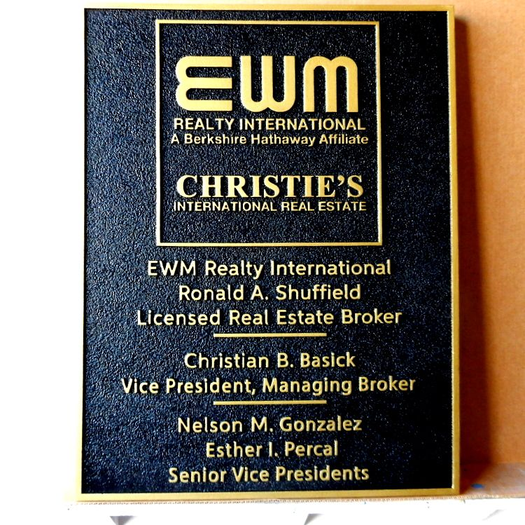 C12308 - Carved and Sandblasted Wall sign for Christie's International Realty company