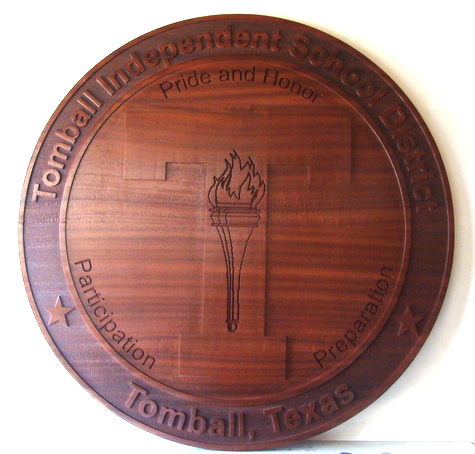 Y34770 - Carved 2.5D  Redwood (Flat Relief)  Wall Plaque of the Seal of the Tomball School District, Texas