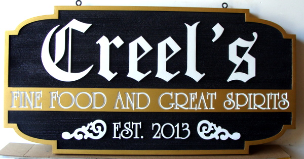 "Q25018 - Carved HDU Restaurant Sign for ""Fine Foods and Great Spirits"""