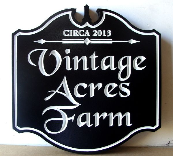 "O24014 - Engraved V-Carved  Entrance Sign, ""Vintage Acres Farm"""