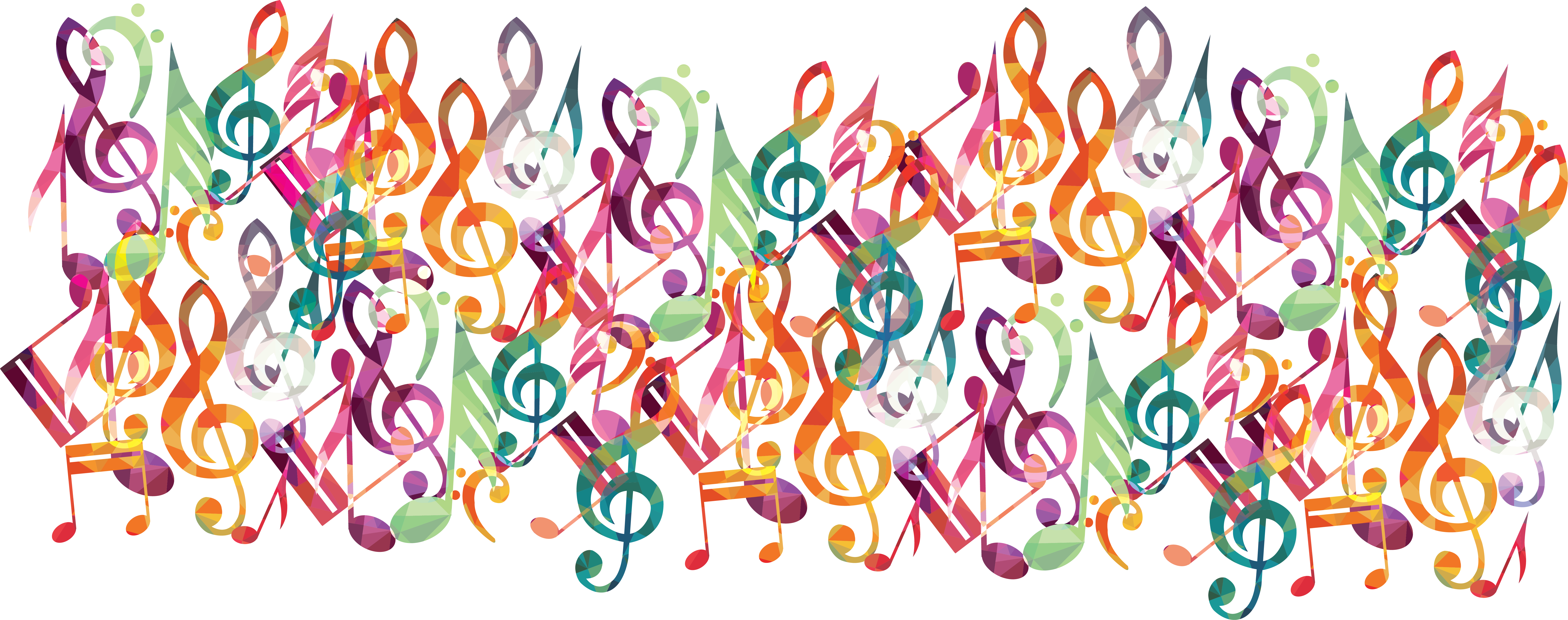 Graphic collage of music notes andd staffs in rainbow colors