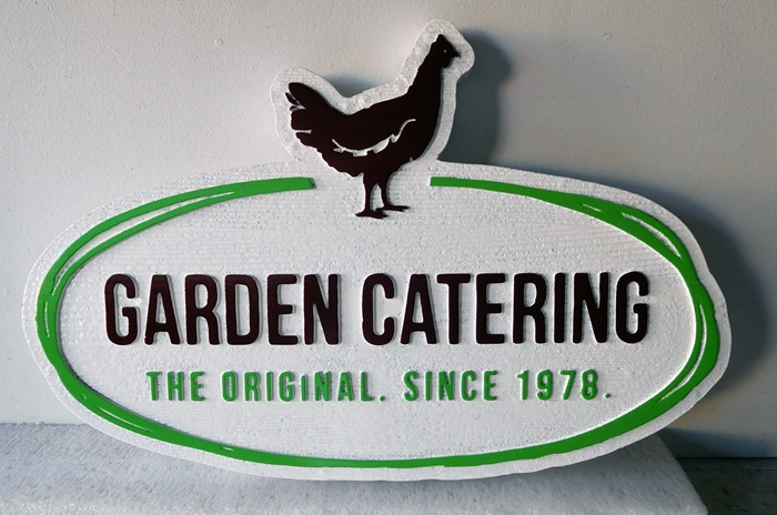 Q25641- High Density Urethane Sign with Handmade Look and Carved Chicken for Garden Catering Dear