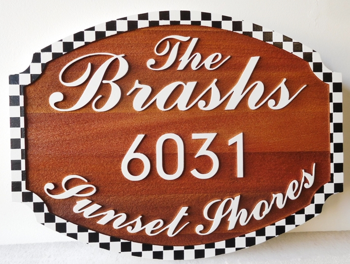 M22023 - Cedar Wood Sign for a Family Cabin, Stained Background and Painted Raised Text and Border