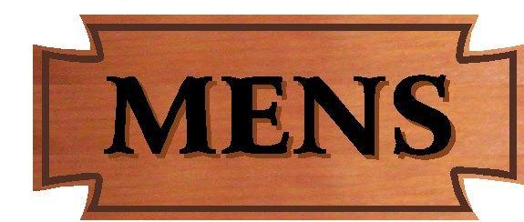 GB16796 - Engraved Cedar Wood Sign  For a Men's Restroom