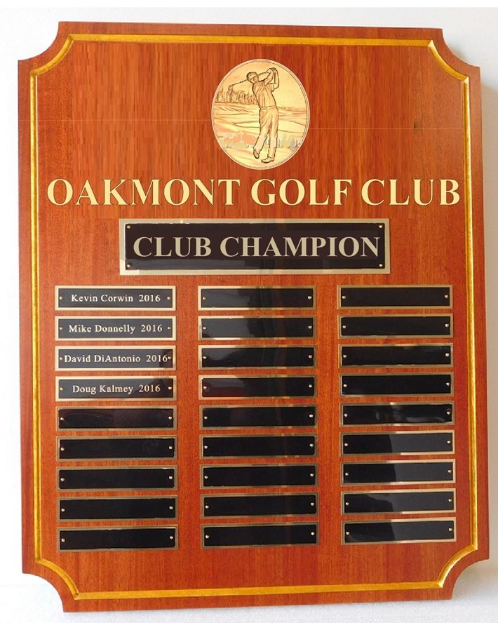 Z35804- Perpetual Plaque for Oakmont  Club Champion, with Engraved Brass Plates and 3-D Brass Logo
