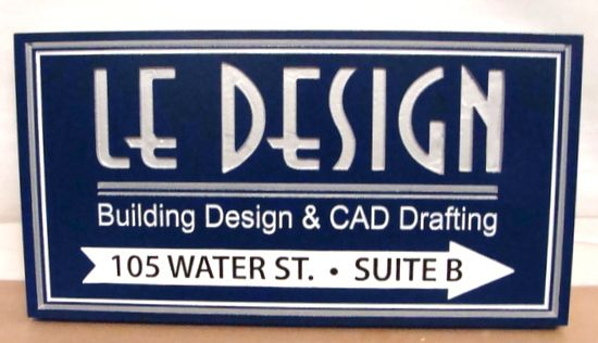 """SA28764 - Carved Engraved HDU Directional Sign for """"Le Design"""" Building Design and CAD Drafting Company"""