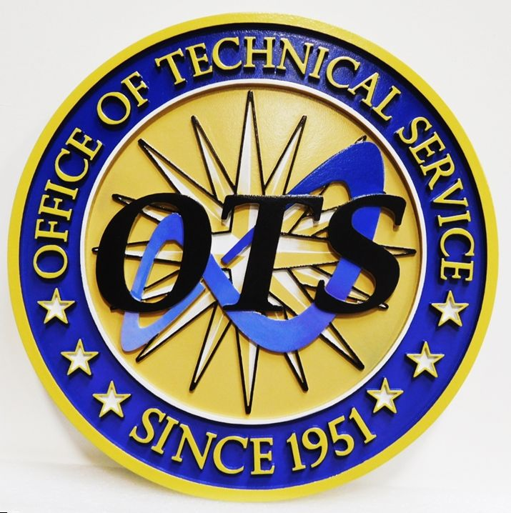 AP-3181 - Carved Plaque of the Seal of the Office of Technical Service, 2.5D Artist-Painted