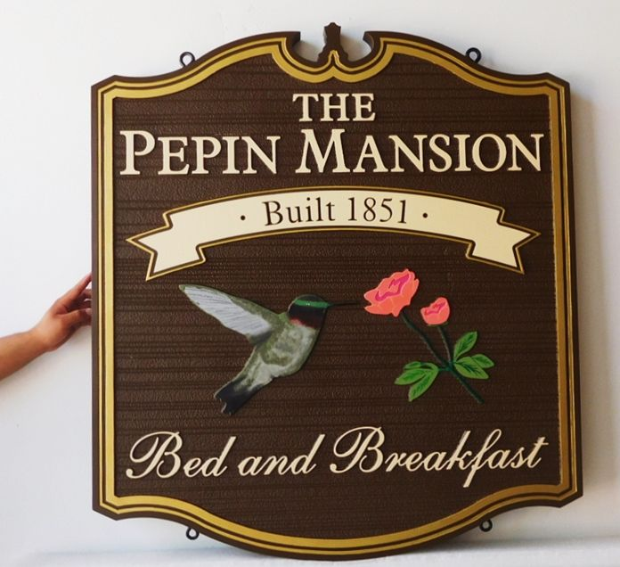 "T29027 - Carved and Sandblasted  Sign  for the ""Pepin Mansion"" Bed & Breakfast (B&B). 2.5-D with Hummingbird as Artwork"