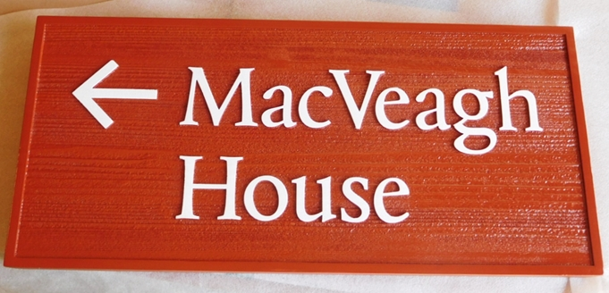 F15967 - Carved and Sandblasted Wood Grain Directional  Sign  for the MacVeigh House