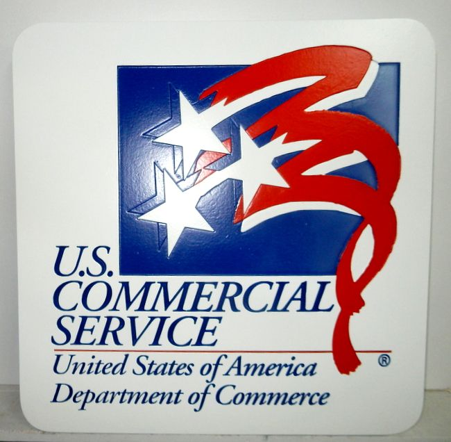 AP-6690 - Carved Plaque of the US Commercial Service of the Postal Service, Artist Painted