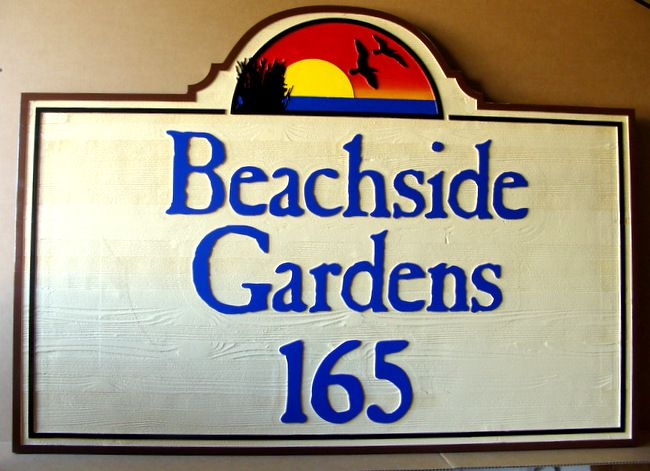 "K20182 - Carved Western Red Cedar Wood  Address Sign for the ""Beachside Gardens"" Private Residential Community, with Scene of Sunset and Seagulls in Flight"