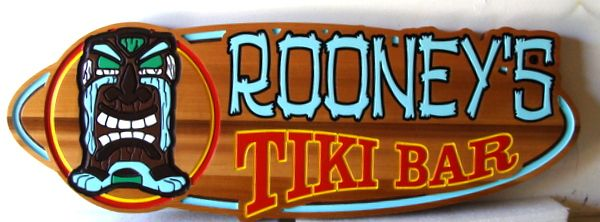 N23640 - Carved Cedar Sign, for Home or Pool  Tiki Bar , in Shape of Surfboard.