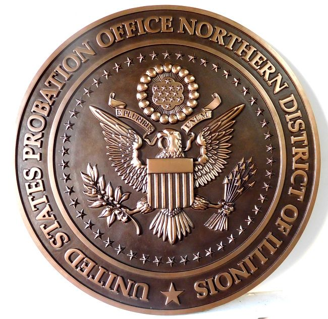 A10840 - 3-D Carved Bronze Wall Plaque for the US Probation Court, Illinois