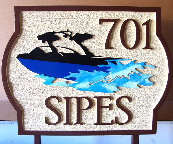 M22502 - Carved and Sandblasted Lake Cottage Address Sign with Powerboat