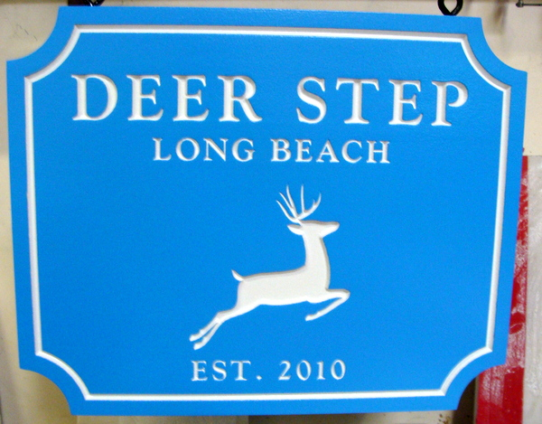 "I18562 - Engraved Property Name Sign ""Deer Step"". with Leaping Stag"