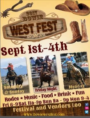 Bowie West Fest  Sept 1st thru 4th
