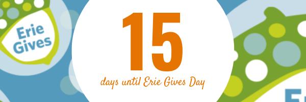 July 29, 2019 Erie Gives email reminder: 15 days until Erie Gives 2019!