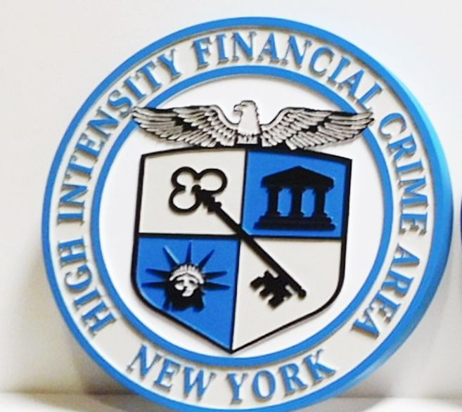 PP-3315 - Carved Plaque of the Seal of the High Intensity Financial Crime Area, New York, 2.5-D Artist-Painted