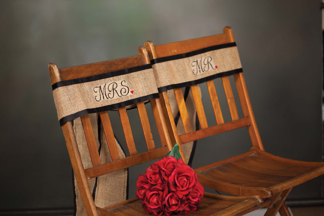 Burlap Chair Sash - Mr and Mrs