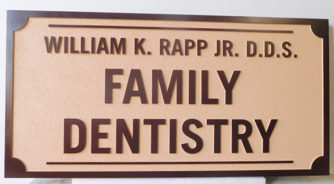BA11589 - Carved and Sandblasted HDU Sign for Family Dental Practice