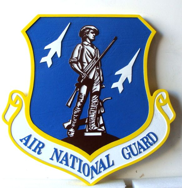 V31518B - Carved Wooden Shield Wall Plaque for Air National Guard (Version 3), with Minuteman
