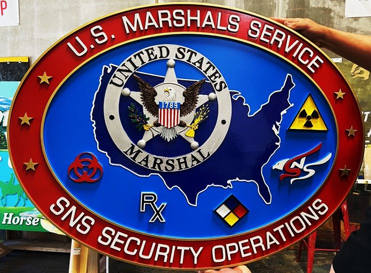 AP-2515 - Carved Plaque of the Seal of SNS Security Operations of the US Marshal Service, Department of Justice