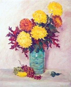 Chrysanthemums with Grapes