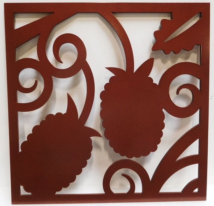 YP-1210 - Custom Decorative Cut-Out Plaque Featuring Pinecones